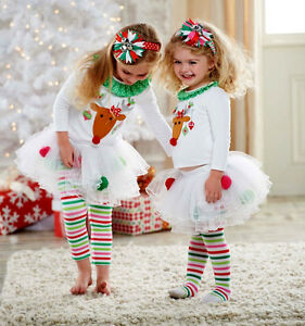 b0bbecefdb100 Details about USA Christmas Kids Baby Girls Xmas Tops Tutu Leggings Pants  Outfits Set Clothes