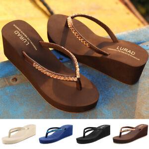New-Women-Ladies-Wedge-Heel-Jelly-Sandal-Flip-Flops-Diamate-Toe-Post-Beach-Shoes