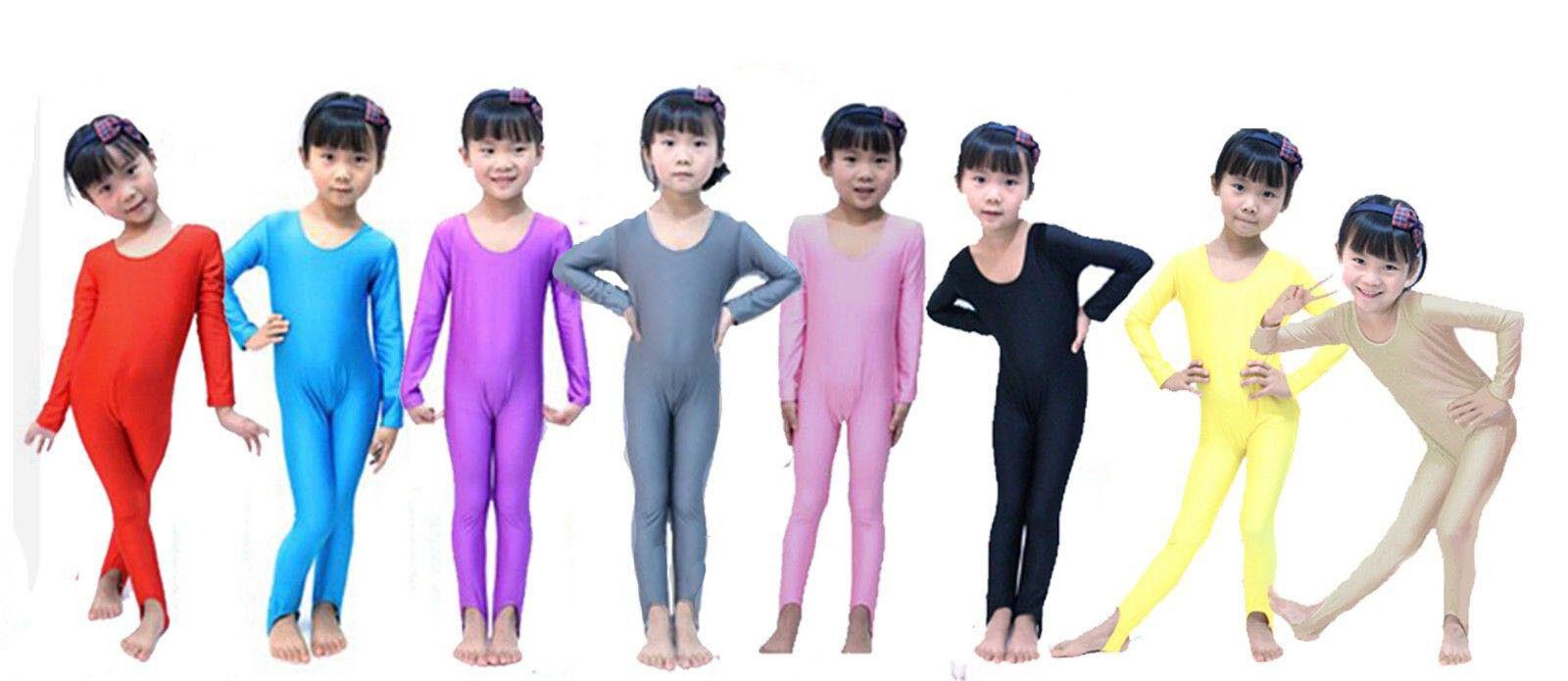 Kids Long Sleeve Dance Gymnastics Catsuit All In One Unitards Leotard Lycra