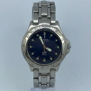 FOSSIL-BLUE-VINTAGE-STAINLESS-STEEL-WATCH-38mm-EXCELLENT-CONDITION-AM3206