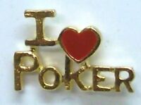 Gambling, I Love (heart) Poker Script Lapel Pin In Gold Plate, Made In Usa,