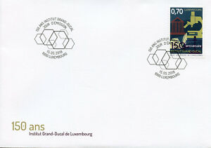 Luxembourg-2018-FDC-Institut-Grand-Ducal-1-V-couverture-science-architecture-timbres