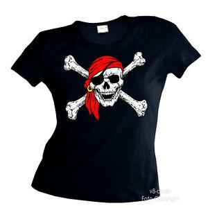 piraten totenkopf pirat damen girl t shirt 4060 ebay. Black Bedroom Furniture Sets. Home Design Ideas