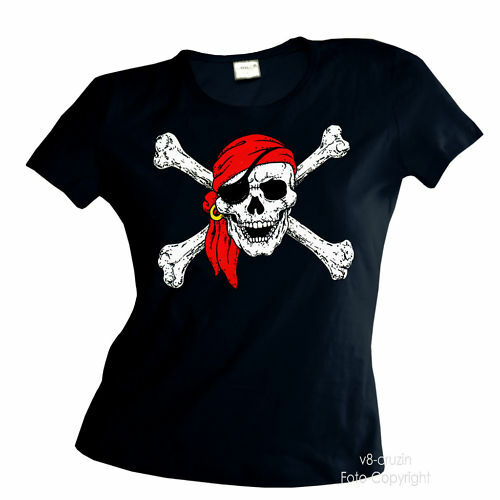 * Piraten Totenkopf Pirat  Damen Girl T-Shirt *4060