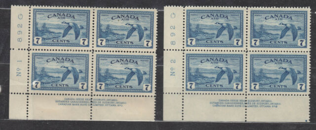 1946 #C9 7¢  KING GEORGE VI AIR MAIL ISSUES LOWER LEFT PLATE BLOCK #1 & #2 F-VF