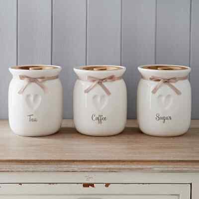 Large Tea Coffee Sugar Ceramic Canisters Engrave Heart Kitchen Storage Jars Set Ebay