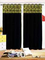 PAIR OF FLOCK DAMASK FULLY LINED EYELET CURTAINS BLACK LIME GREEN 3 SIZES