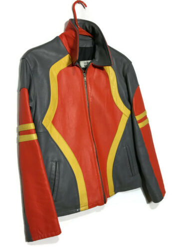 Retro Leather Motorcycle Jacket Orange and Gray Le