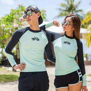 Men Women Surf Shirt Long Sleeve Rash Guards + Board Shorts Trunks ... 8dd2048b1f