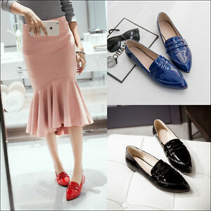 Women-039-s-Patent-Leather-Pointy-Toe-Slip-On-Loafers-Fashion-OL-Flats-British-Shoes
