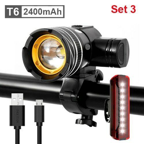 5000mAh Bicycle Light 800 Lumen T6 led Bike Headlight Zoom USB