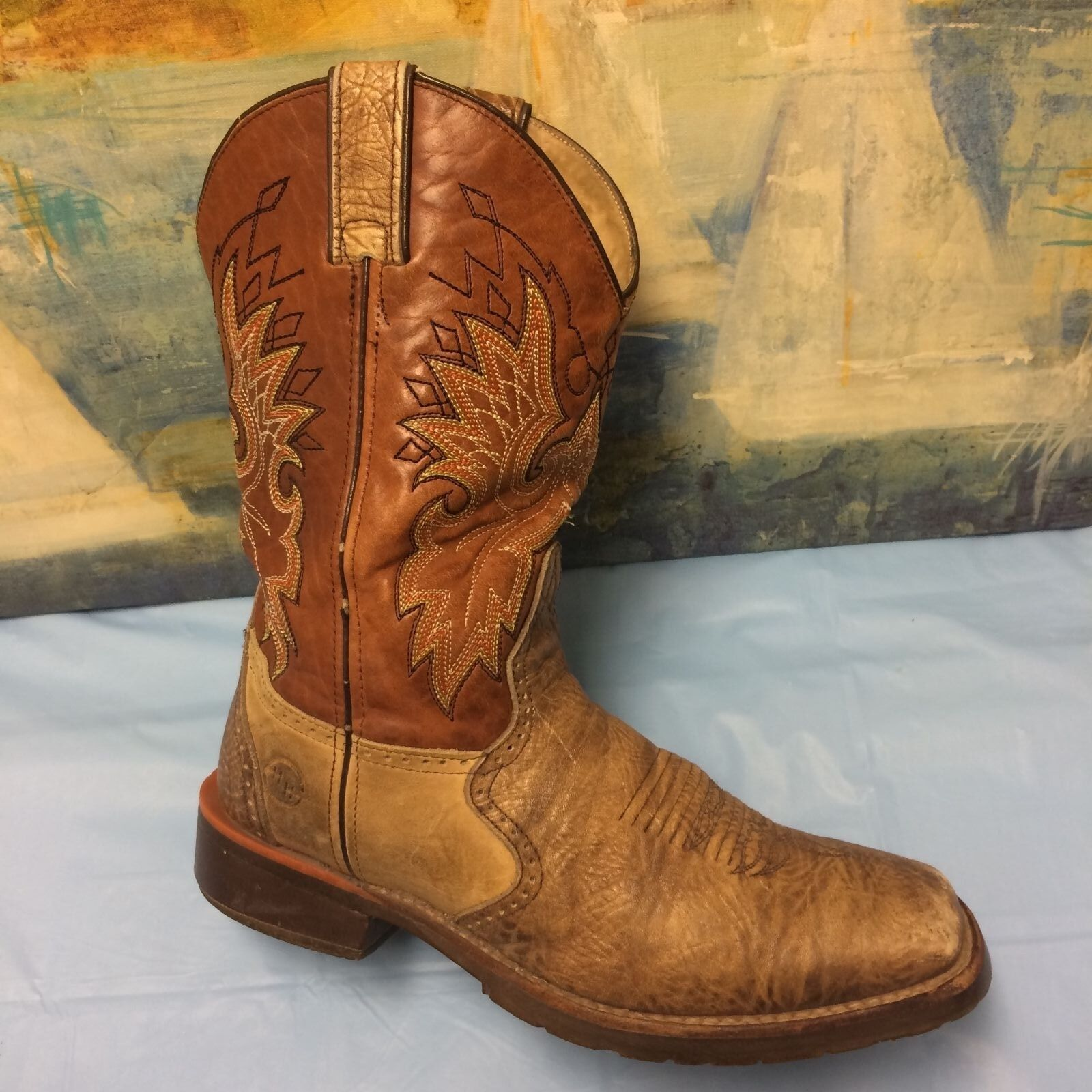 DOUBLE H Mens Brown Wide Square Roper Boot DH3561 Size 8.5 EE