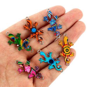 Wholesale-10Pcs-Mixed-Color-Gecko-Connectors-Charm-DIY-Necklace-Jewelry-Making