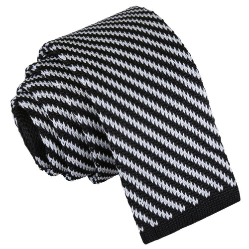 Work Men/'s Diagonal Stripe Knitted Polyester Skinny 5cm Tie Evening Party