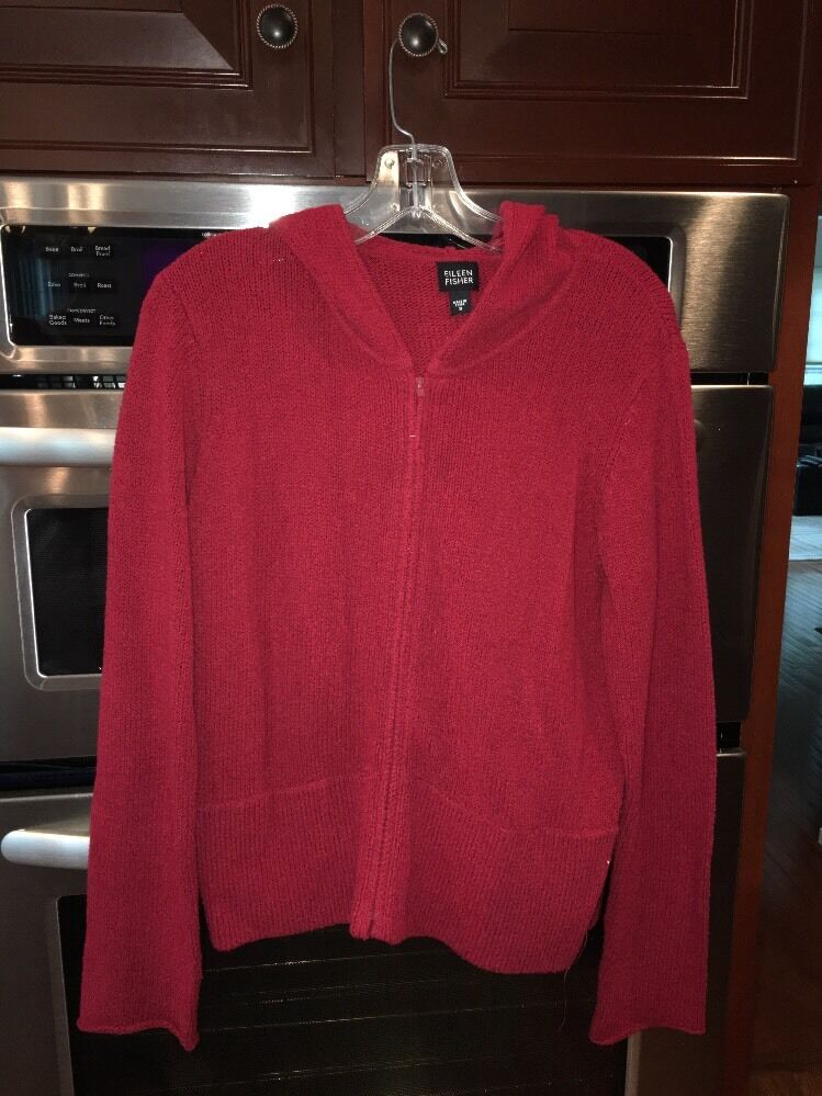 EILEEN FISHER Red  Cardigan Zip Front Sweater Sz Small