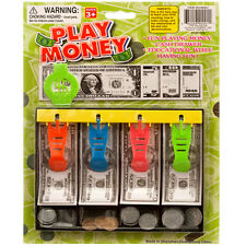 Play Money with Tray Kids Toy Fake Cash Currency Paper Dollar Bills Games drawer