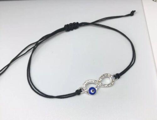 Cordón negro de ojos azul de Plata Pulsera De La Suerte Protección mal de ojo