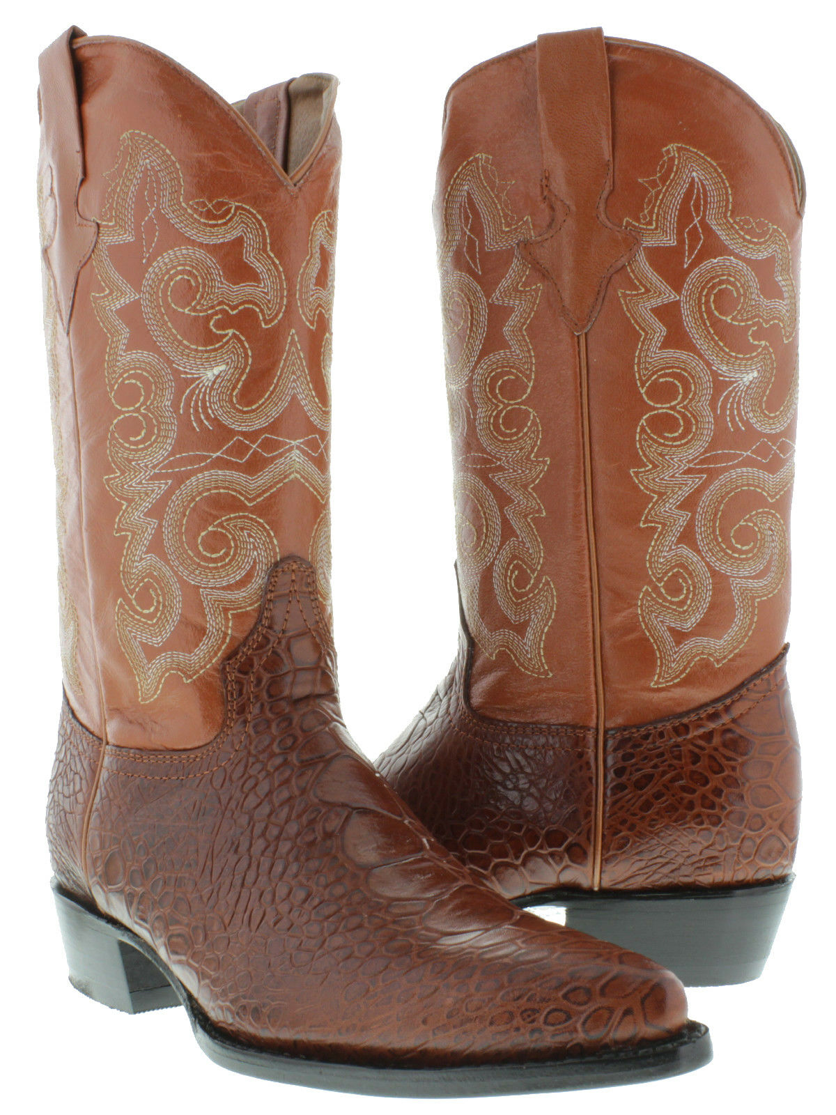 Mens Cognac Turtle Belly Print Western Cowboy Exotic Leather Rodeo Boots J Toe
