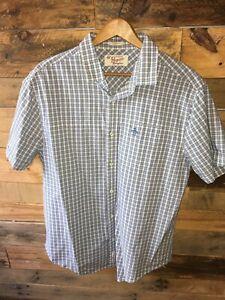 Penguin-Men-039-s-Button-Up-Short-Sleeve-Shirt-Large-Classic-Fit-Plaid-Blue-Green