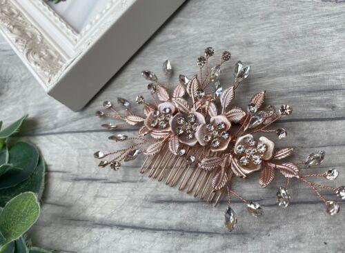 Superbe Or Rose Bridal Hair Vigne//Cheveux Pièce