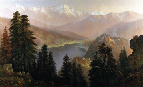 Donner Lake from the Summit   by Edwin Deakin  Giclee Canvas Print Repro