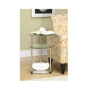 Round glass table coffee end side display accent stand - Round glass tables for living room ...