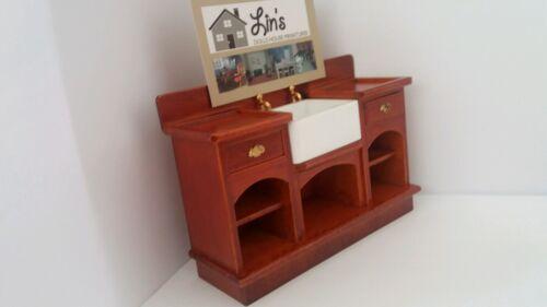 Dolls House Miniatures 1//12 Scale Dark Wooden Kitchen Sink Unit DF863 New