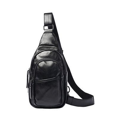 Men Faux Leather Shoulder Cross body Bag Travel Rider Sling Chest Back Pack