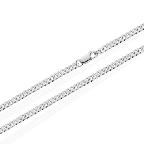 Solid 925 Sterling Silver Curb Chain Silver Necklace Mens Womens Biker Necklace NEW