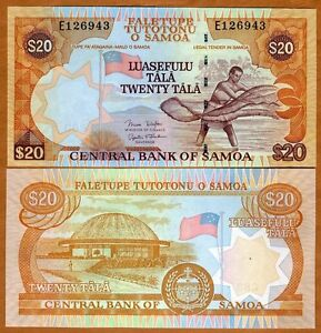 35b ND 20 Tala Western Samoa 2005 2006 UNC /> Man fishing with a net P-35