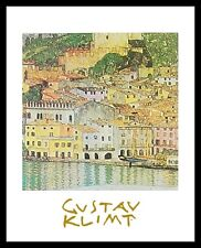 Gustav Klimt Malcesine Poster Bild Kunstdruck mit Alu Rahmen in schwarz 30x24cm