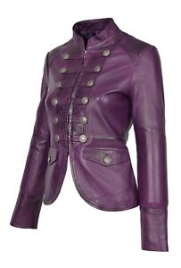 distinctive style stable quality 2019 discount sale Details about Womens Real Leather Casual Jacket Military Punk Style Slim  Fit Purple Coat