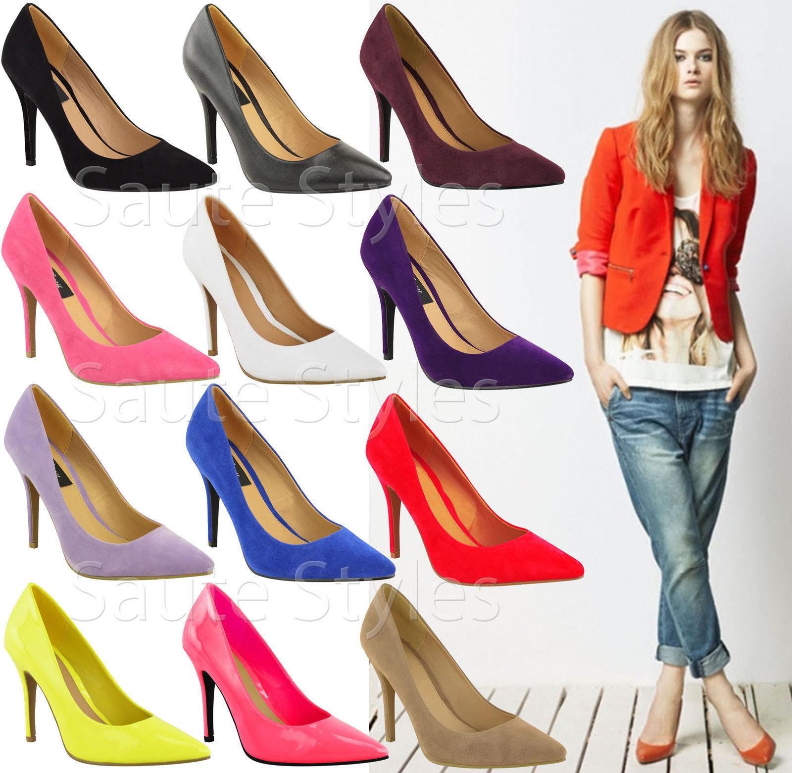 Ladies Low Mid High Stiletto Work Heels Pointy Pump Women Work Stiletto Smart Court Shoes Size 4e5947