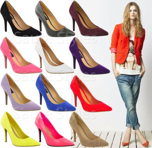 Ladies Low Mid High Stiletto Heels Pointy Pump Women Work Smart Court Shoes Size