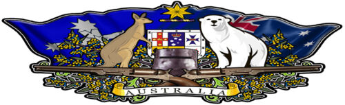 Australian coat of arms DECAL NED KELLY BUNDY BEAR 1300mm BY400mm gloss laminat