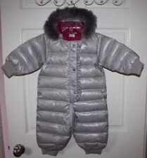 NWT Baby Girls Hanna Andersson Gray Down Snowsuit Size 80 / 18 Months