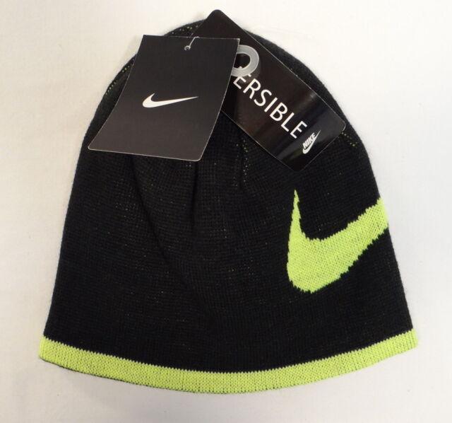 f05d143d197a5 Nike Swoosh Reversible Black   Volt Knit Beanie Skull Cap Youth Boy s 8-20  NWT
