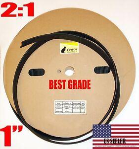 """16 Feet 16' BLACK 1"""" INCH (25 mm) Polyolefin 2:1 Heat Shrink Tubing"""