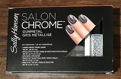 New Sally Hansen Lim Ed Salon Chrome 5PC Kit Miracle Gel Nail Polish  Gunmetal | eBay