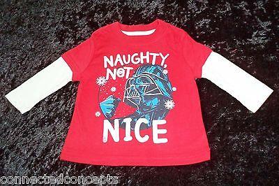 Toddler Boys Star Wars Darth Vader Christmas Naughty Not Nice Shirt 12M 2T 3T