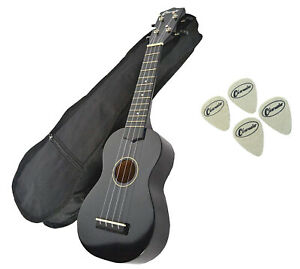 Soprano-Beginners-Ukulele-Free-Gig-Bag-amp-4-Felt-Picks-In-Black-by-Clearwater