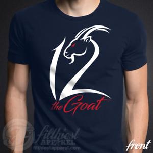 d77c410ad The GOAT 12 T-Shirt Tom Brady Football Fan Jersey Shirt Funny   eBay