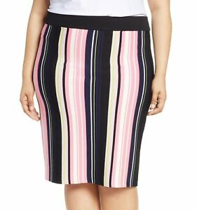 Rachel-Rachel-Roy-Womens-Skirt-Pink-Size-1X-Plus-Striped-Stretch-Knit-109-422