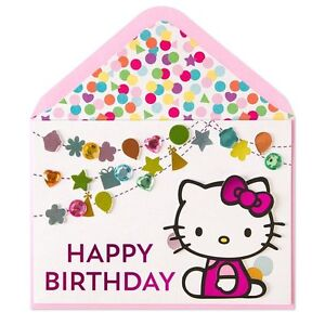 Image Is Loading Papyrus Birthday Card 034 Hello Kitty Gem Streamers