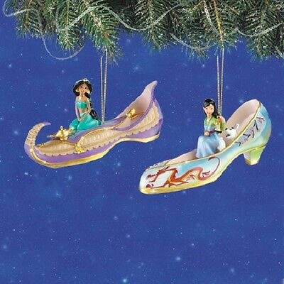 Disney's Once Upon a Slipper Ornaments - Jasmine and Mulan set #4 Figures