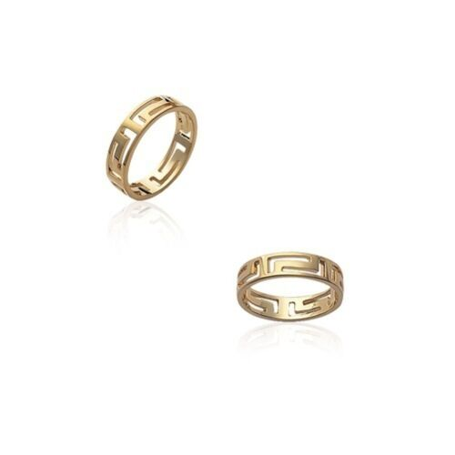 Bague ALLIANCE HOMME Maille GREC Plaqué OR NEUF T 64