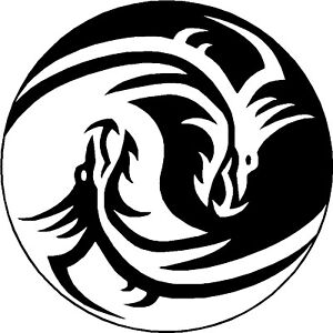 Image Is Loading 2x YIN YANG DRAGON Symbols VINYL STICKER DECAL