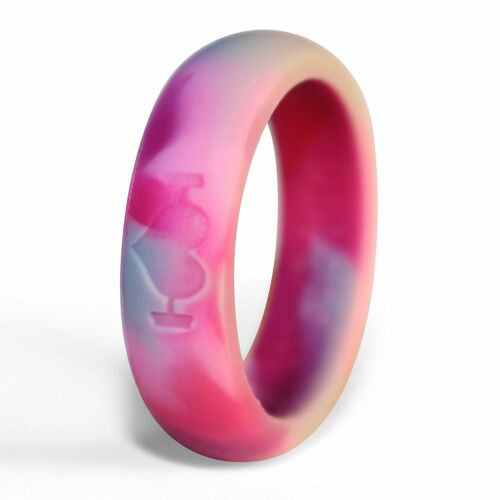 Pink Camo Silicone Wedding Rings for Women, Band Perfect for Crossfit, Fitness