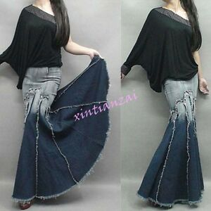 Chic-Womens-Jeans-Denim-Maxi-Long-Skirts-Retro-Fishtail-gown-Ball-dress-Party