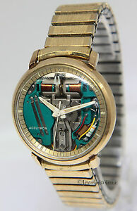 Bulova-Accutron-Spaceview-10k-Yellow-Gold-Stainless-Steel-35mm-Mens-Watch-M7